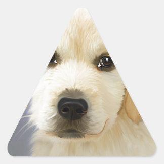 Golden Retriever Puppy Painting Triangle Sticker