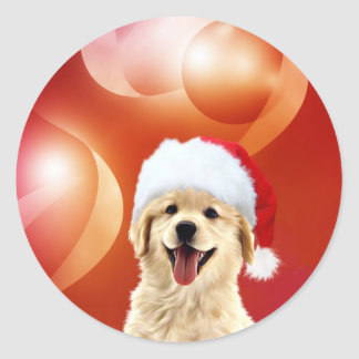 Golden Retriever puppy Santa Classic Round Sticker