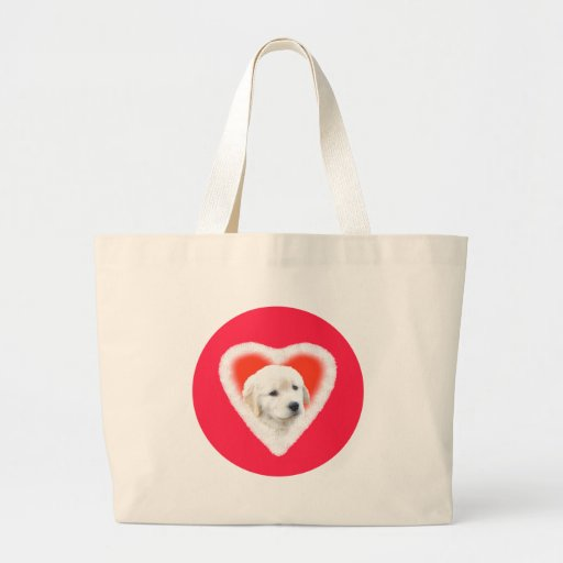 Golden Retriever Puppy Valentine Gifts Tote Bags