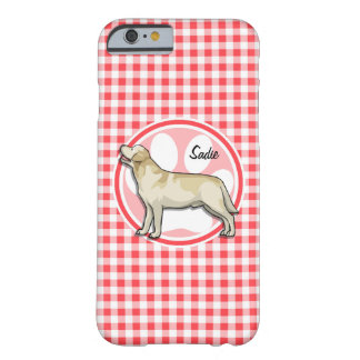 Golden Retriever; Red and White Gingham Barely There iPhone 6 Case