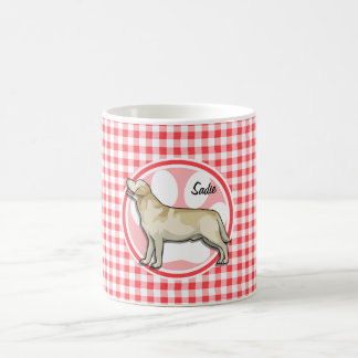 Golden Retriever; Red and White Gingham Coffee Mug