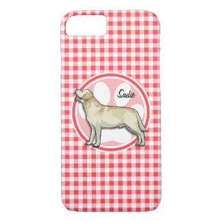 Golden Retriever; Red and White Gingham iPhone 7 Case