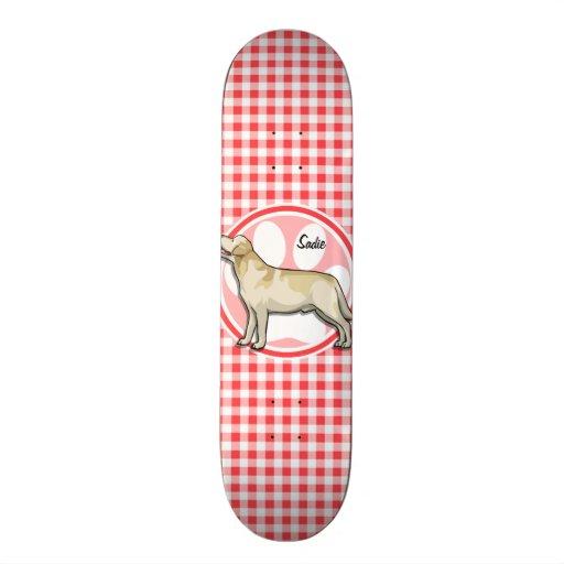 Golden Retriever; Red and White Gingham Skateboard Deck