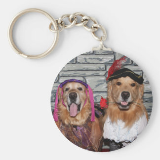 Golden Retriever Romeo and Juliet Basic Round Button Key Ring