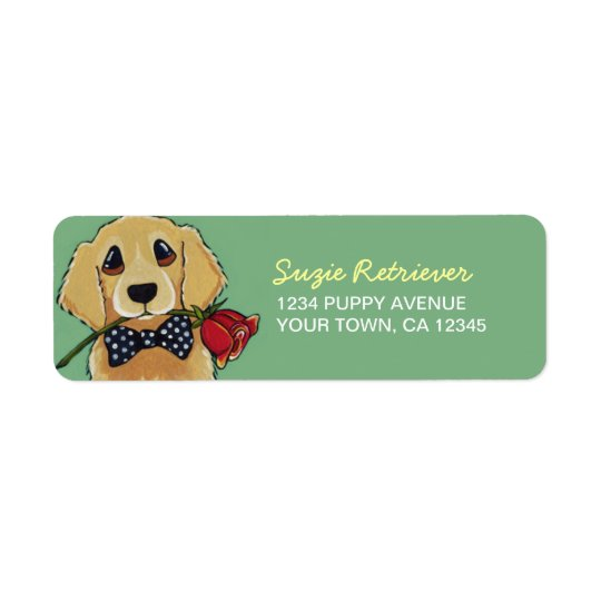 Golden Retriever & Rose | Dog Return Address Label