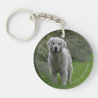 Golden Retriever Running 2 Double-Sided Round Acrylic Key Ring