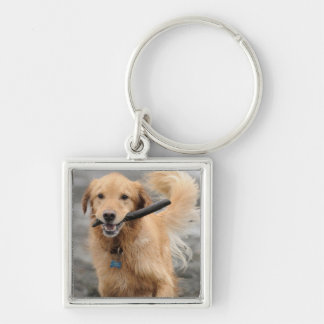 Golden Retriever Running With  Stick In Mouth Key Ring