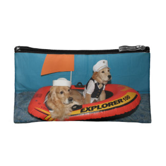 Golden Retriever Sailboat Captains Cosmetic Bag