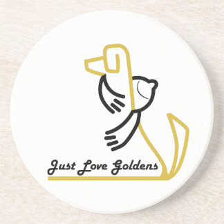 Golden Retriever Sandstone Coaster, Love Goldens Coaster