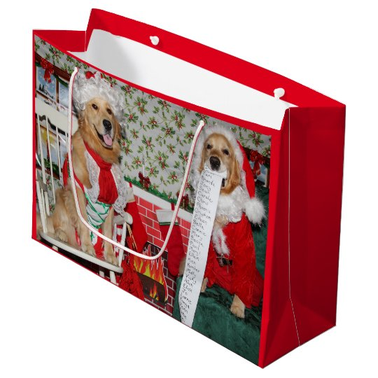 Golden Retriever Santa and Mrs. Claus Large Gift
