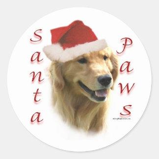 Golden Retriever Santa Paws Round Stickers