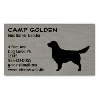 Golden Retriever Silhouette Magnetic Business Cards