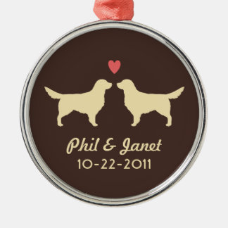Golden Retriever Silhouettes with Heart and Text Christmas Ornament