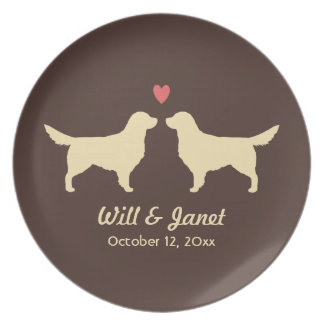 Golden Retriever Silhouettes with Heart and Text Plates