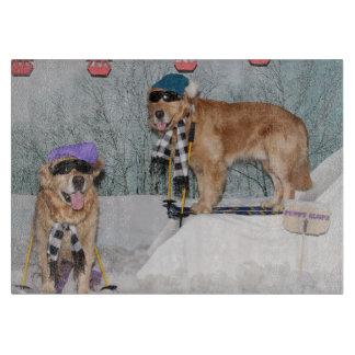 Golden Retriever Skiing Cutting Board