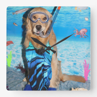 Golden Retriever Snorkeler Wall Clock