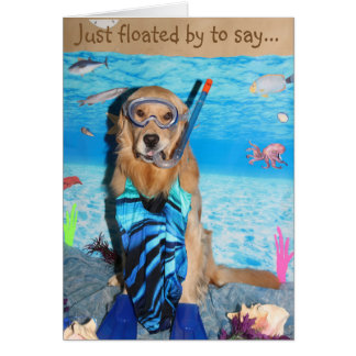 Golden Retriever Snorkeling Brithday Greeting Card