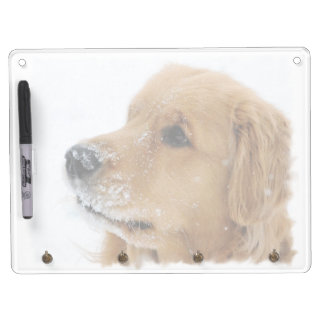 Golden Retriever Snow Dog Dry Erase Board