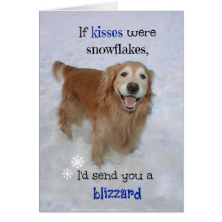 Golden Retriever Snowflake Kisses Valentine's Day Card