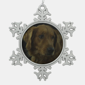 Golden Retriever Snowflake Pewter Christmas Ornament