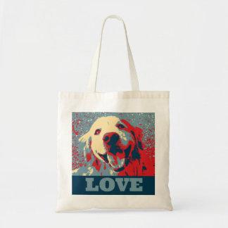 Golden Retriever Stylized Love Budget Tote Bag