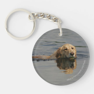 Golden Retriever Swimming Double-Sided Round Acrylic Key Ring