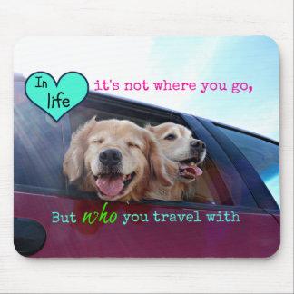Golden Retriever Travel Friendship Mouse Mat