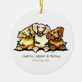 Golden Retriever Trio Personalized Round Ceramic Decoration