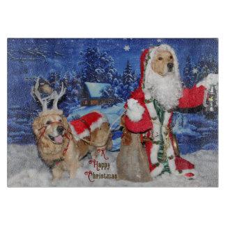 Golden Retriever Victorian Santa Christmas Cutting Board