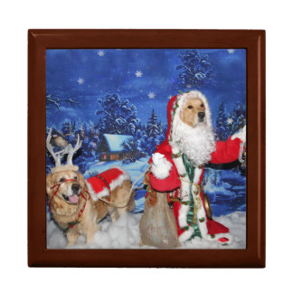 Golden Retriever Victorian Santa Christmas Gift Box