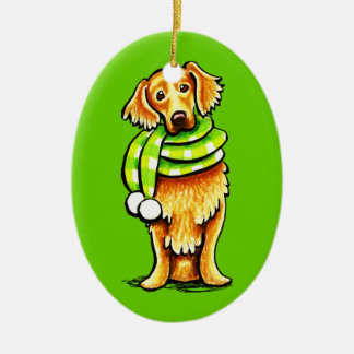Golden Retriever Winter Scarf Christmas Ornament