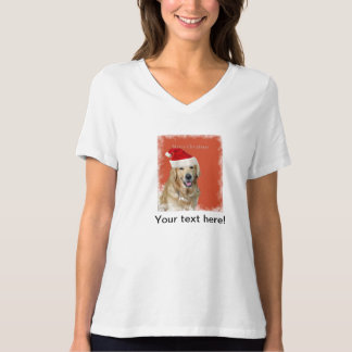Golden retriever with a Christmas hat Tshirts