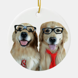Golden Retriever With Nerd Glasses Christmas Ornament