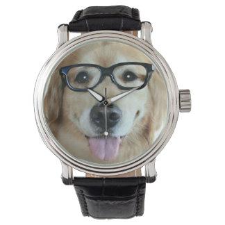 Golden Retriever With Nerd Glasses Watch