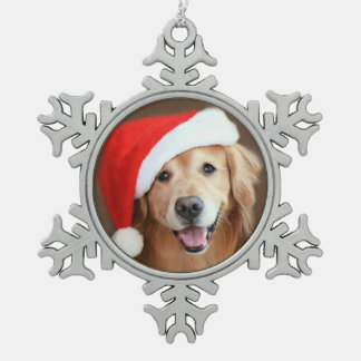 Golden Retriever With Red Santa Hat Snowflake Pewter Christmas Ornament