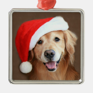 Golden Retriever With Santa Hat Christmas Ornament