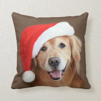 Golden Retriever With Santa Hat Cushion