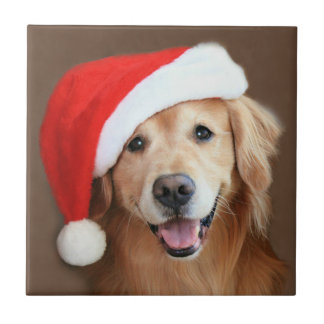 Golden Retriever With Santa Hat Tile