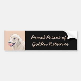Golden Retriever with Tennis Ball Painting Dog Art Bumper Sticker