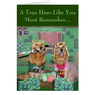 Golden Retriever Zelda and Link Legendary Birthday Card