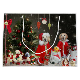 Golden Retriever's & Dachshund in Xmas attire Large Gift Bag