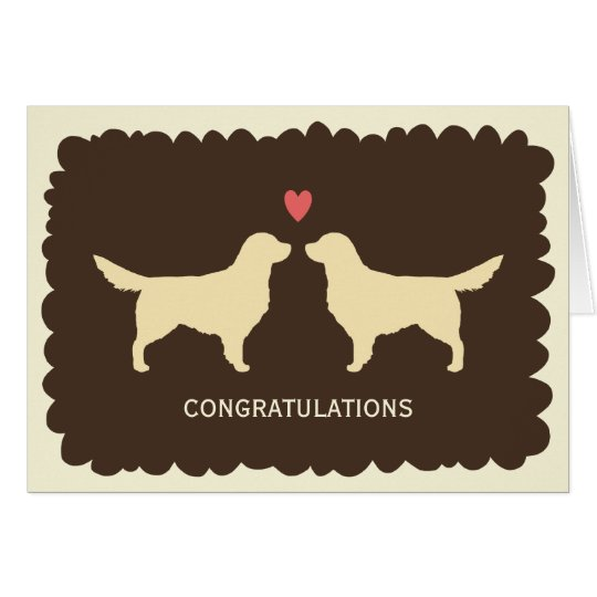 Golden Retrievers Wedding Congratulations Card