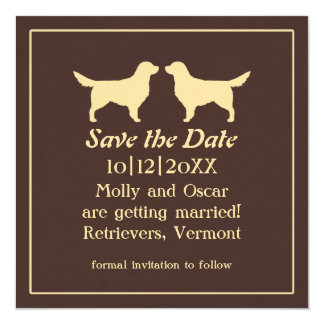 Golden Retrievers Wedding Save the Date 13 Cm X 13 Cm Square Invitation Card