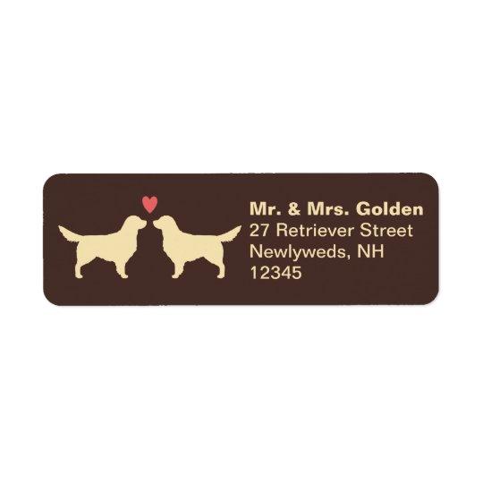 Golden Retrievers with Heart Return Address Label