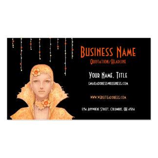 Golden Retro Woman w Drops Business Cards