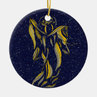 Golden Ribbon Angel Abstract Navy Blue Starfield Christmas Ornament