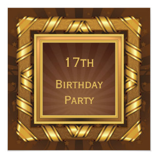 Golden Ribbon & Stars Framed Mans 17th Birthday 13 Cm X 13 Cm Square Invitation Card