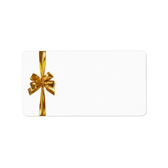 Golden Ribbon With Bow On White Background Address Label