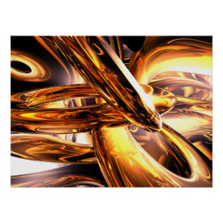 Golden Rings Abstract Poster