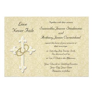 Golden Rings Christian Wedding Invitations